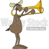 Clipart of a Cartoon Moose Playing a Trombone - Royalty Free Vector Illustration © djart #1425395