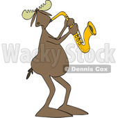 Clipart of a Cartoon Moose Playing a Saxophone - Royalty Free Vector Illustration © djart #1425396