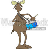 Clipart of a Cartoon Moose Playing a Drum - Royalty Free Vector Illustration © djart #1425398