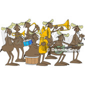 Clipart of a Cartoon Moose Band Playing Instruments and Singing - Royalty Free Vector Illustration © Dennis Cox #1425399