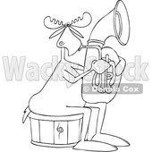 Clipart of a Cartoon Black and White Lineart Moose Playing a Tuba - Royalty Free Vector Illustration © Dennis Cox #1425401