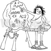 Clipart of a Cartoon Black and White Lineart Cave Woman Teacher Pointing to a Boulder with Drawings - Royalty Free Vector Illustration © djart #1425407