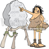 Clipart of a Cartoon Cave Woman Teacher Pointing to a Boulder with Drawings - Royalty Free Vector Illustration © Dennis Cox #1425408