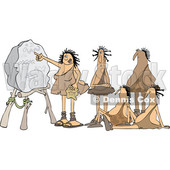 Clipart of a Cartoon Cave Woman Teacher and Men Learning - Royalty Free Vector Illustration © djart #1425409