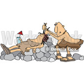 Clipart of a Cartoon Cave Woman Holding a Drink, Laying on Boulders Nad Getting Her Hair Done - Royalty Free Vector Illustration © Dennis Cox #1425410