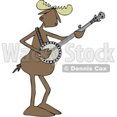 Clipart of a Cartoon Musician Moose Playing a Banjo - Royalty Free Vector Illustration © djart #1426142