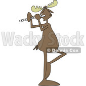 Clipart of a Cartoon Musician Moose Playing a Flute - Royalty Free Vector Illustration © djart #1426143