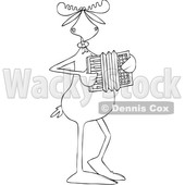 Clipart of a Cartoon Black and White Lineart Musician Moose Playing an Accordion - Royalty Free Vector Illustration © djart #1426145