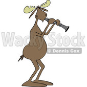 Clipart of a Cartoon Musician Moose Playing a Clarinet - Royalty Free Vector Illustration © djart #1426928