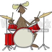 Clipart of a Cartoon Musician Moose Playing the Drums - Royalty Free Vector Illustration © djart #1426929