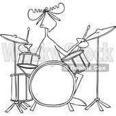 Clipart of a Cartoon Black and White Lineart Musician Moose Playing the Drums - Royalty Free Vector Illustration © djart #1426933