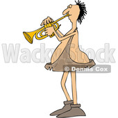 Clipart of a Cartoon Chubby Caveman Musician Playing a Trumpet - Royalty Free Vector Illustration © djart #1427481