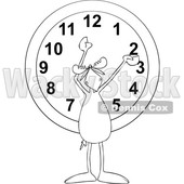 Clipart of a Cartoon Black and White Moose Holding His Arms up over a Wall Clock - Royalty Free Vector Illustration © djart #1427810