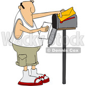 Clipart of a Cartoon Chubby Caucasian Man Reading a Letter at His Mailbox - Royalty Free Vector Illustration © djart #1427864