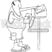 Clipart of a Cartoon Black and White Lineart Chubby Man Reading a Letter at His Mailbox - Royalty Free Vector Illustration © djart #1427865