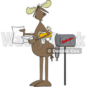 Clipart of a Cartoon Moose Opening a Letter by a Mailbox - Royalty Free Vector Illustration © djart #1427866