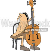 Clipart of a Cartoon Caveman Musician Playing a Cello - Royalty Free Vector Illustration © djart #1431313