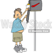 Clipart of a Cartoon Happy White Boy Getting Letters from a Mailbox - Royalty Free Vector Illustration © djart #1431316