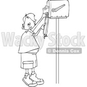 Clipart of a Cartoon Black and White Lineart Boy Getting Letters from a Mailbox - Royalty Free Vector Illustration © djart #1431317