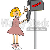 Clipart of a Cartoon Happy White Girl Getting Letters from a Mailbox - Royalty Free Vector Illustration © Dennis Cox #1432697