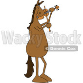 Clipart of a Cartoon Brown Horse Musician Playing a Violin - Royalty Free Vector Illustration © djart #1432816