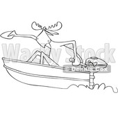 Clipart of a Cartoon Black and White Lineart Moose in a Speed Boat - Royalty Free Vector Illustration © djart #1432824