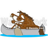 Clipart of a Cartoon Brown Horse Paddling a Canoe - Royalty Free Vector Illustration © Dennis Cox #1432896