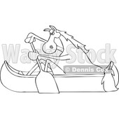 Clipart of a Cartoon Black and White Lineart Horse Paddling a Canoe - Royalty Free Vector Illustration © Dennis Cox #1432897