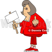 Clipart of a Cartoon Chubby White Woman Holding up a Middle Finger and Blank Sign - Royalty Free Vector Illustration © djart #1432906