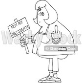 Clipart of a Cartoon Black and White Lineart Chubby Woman Holding up a Middle Finger and Not My President Sign - Royalty Free Vector Illustration © djart #1432907
