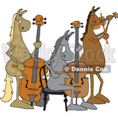Clipart of a Cartoon Group of Horse Musicians Playing a Cello, Double Bass and Violin - Royalty Free Vector Illustration © Dennis Cox #1432909