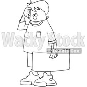 Clipart of a Cartoon Black and White Lineart Confused Boy Protestor Holding a Sign - Royalty Free Vector Illustration © Dennis Cox #1433891