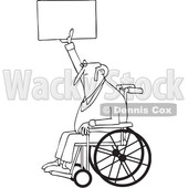 Clipart of a Cartoon Black and White Lineart Senior Male Protester in a Wheelchair, Holding up a Sign - Royalty Free Vector Illustration © djart #1433892