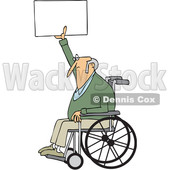 Clipart of a Cartoon White Senior Male Protester in a Wheelchair, Holding up a Sign - Royalty Free Vector Illustration © djart #1433896