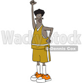 Clipart of a Cartoon Black Male Protester Holding up a Fist and Shouting - Royalty Free Vector Illustration © djart #1433897