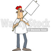 Clipart of a Cartoon White Male Protester Holding a Sign - Royalty Free Vector Illustration © Dennis Cox #1433898