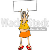 Clipart of a Cartoon White Female Protester Holding up a Sign and Shouting - Royalty Free Vector Illustration © djart #1433899