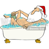 Clipart of a Cartoon Santa Claus Washing up in a Bubble Bath - Royalty Free Vector Illustration © Dennis Cox #1433904