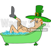 Clipart of a Cartoon St Patricks Day Leprechan Lifting a Leg and Soaking in a Bubble Bath - Royalty Free Vector Illustration © djart #1433909