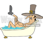 Clipart of a Cartoon Thanksgiving Pilgrim Man Lifting up a Leg While Soaking in a Bubble Bath - Royalty Free Vector Illustration © djart #1433910