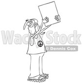 Clipart of a Cartoon Black and White Male Hippie Protestor Wearing a Peace Shirt and Holding up a Blank Sign - Royalty Free Vector Illustration © Dennis Cox #1434137