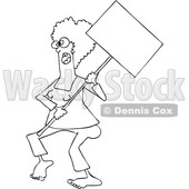 Clipart of a Cartoon Lineart Black Female Protestor Wearing Glasses and Holding a Blank Sign - Royalty Free Vector Illustration © djart #1434139