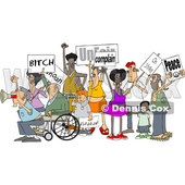 Clipart of a Cartoon Crowd of Angry Protestors Holding up Signs - Royalty Free Vector Illustration © Dennis Cox #1434140