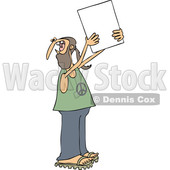 Clipart of a Cartoon White Male Hippie Protestor Wearing a Peace Shirt and Holding up a Blank Sign - Royalty Free Vector Illustration © Dennis Cox #1434141