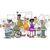 Clipart of a Cartoon Crowd of Angry Protestors Holding up Blank Signs - Royalty Free Vector Illustration © djart #1434142