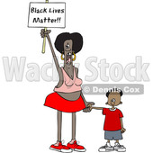 Clipart of a Cartoon Female Protestor Holding Her Sons Hand, Shouting and Holding up a Black Lives Matter Sign - Royalty Free Vector Illustration © djart #1434145