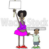 Clipart of a Cartoon Black Female Protestor Holding Her Sons Hand, Shouting and Holding up a Blank Sign - Royalty Free Vector Illustration © djart #1434146