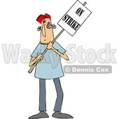 Clipart of a Cartoon White Male Protestor Holding an on Strike Sign - Royalty Free Vector Illustration © Dennis Cox #1434147