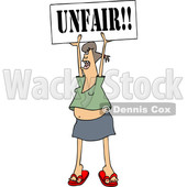 Clipart of a Cartoon White Female Protestor Holding up an Unfair Sign - Royalty Free Vector Illustration © djart #1434148