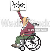 Clipart of a Cartoon White Senior Male Protestor in a Wheelchair, Holding up a Protest Sign - Royalty Free Vector Illustration © djart #1434149